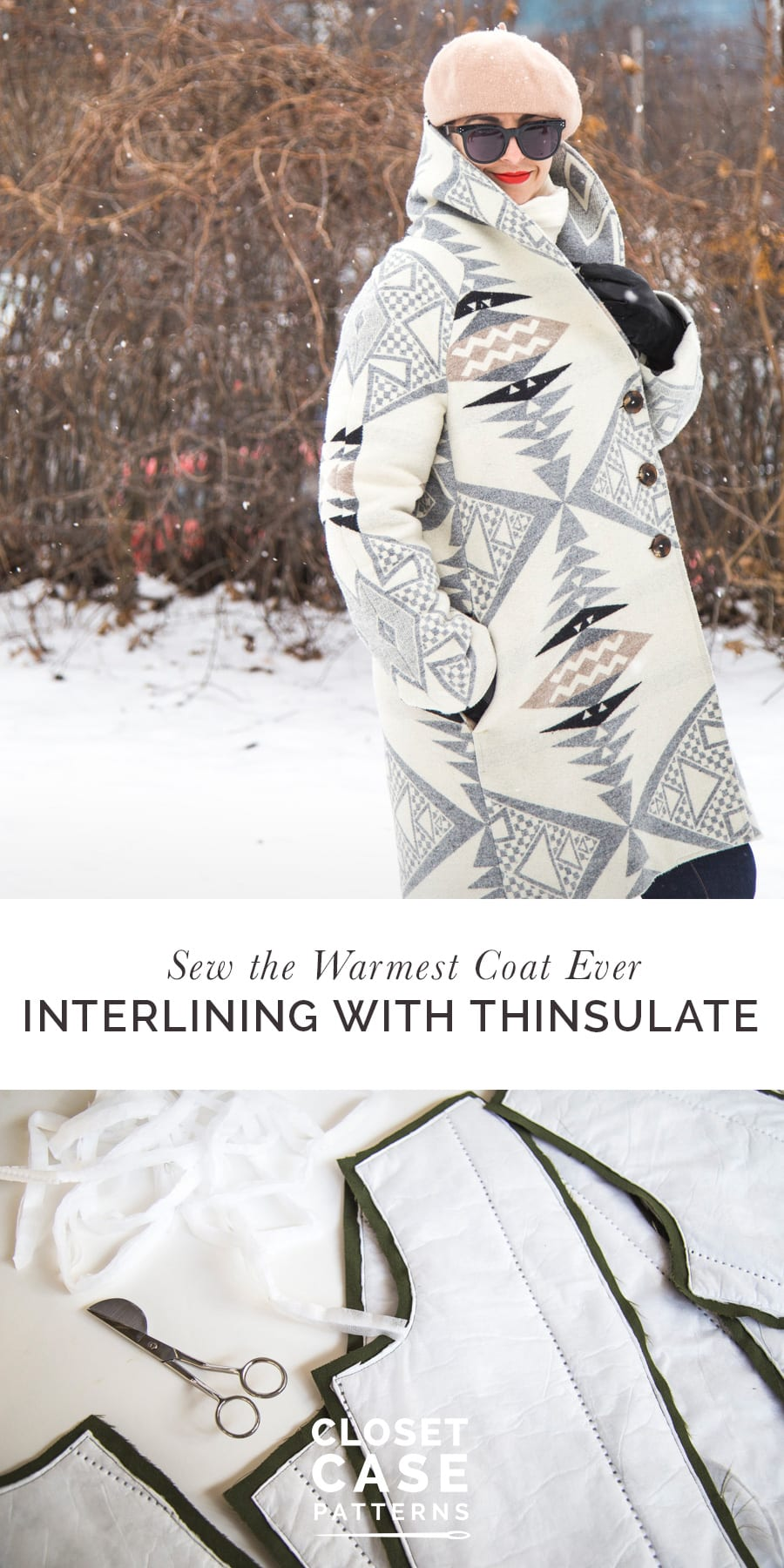 Sew the warmest coat EVER - Interlining with Thinsulate // Sewing tutorial by Closet Case Patterns
