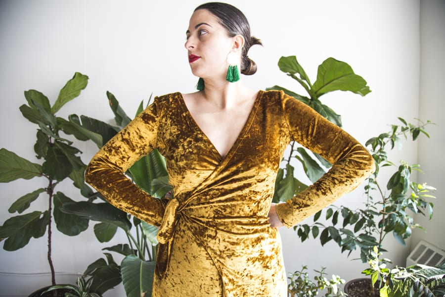 Crushed velvet wrap dress // vintage Butterick 5119 // Handmade by Closet Case Patterns
