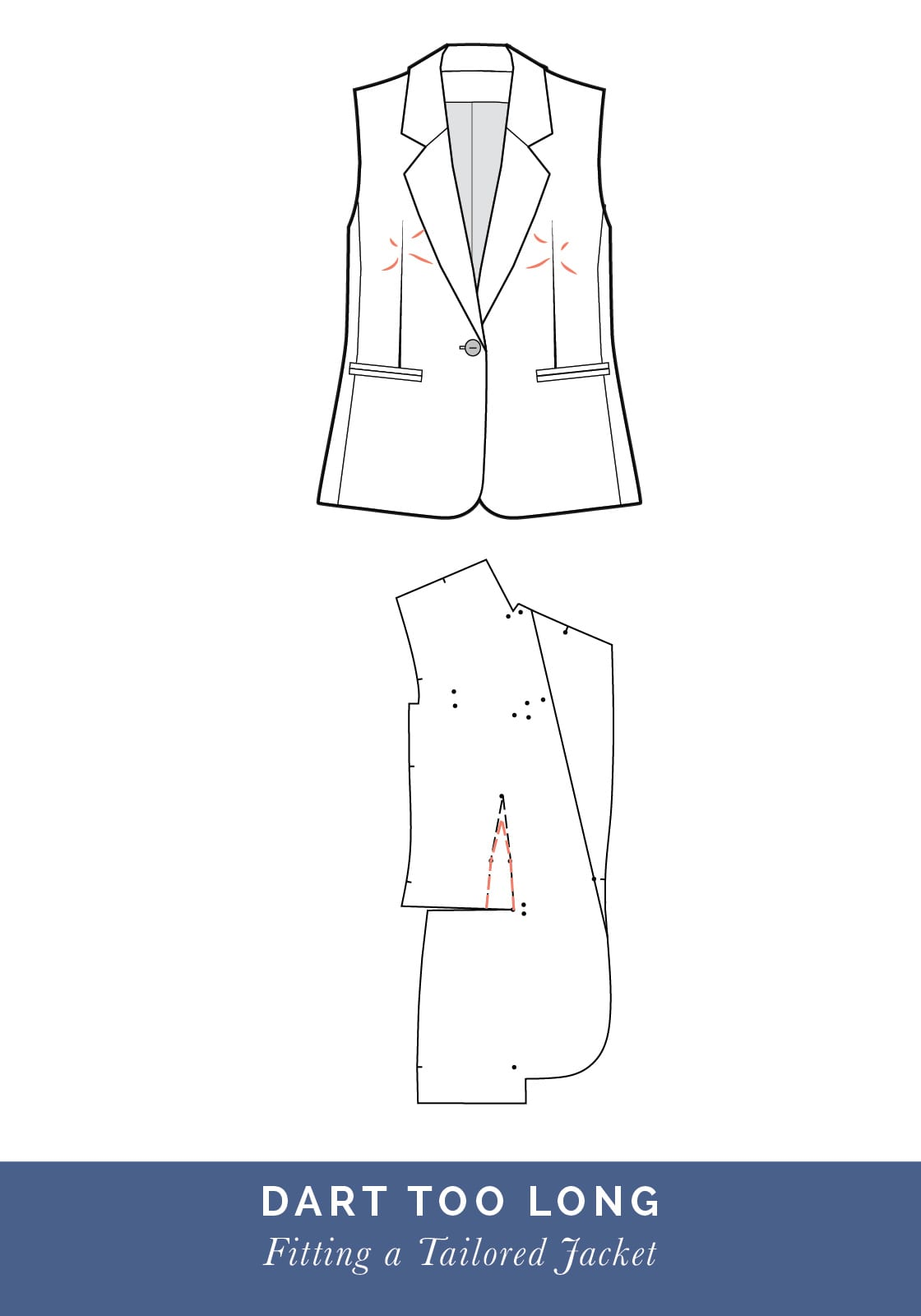 Dart too long // How to fit a Tailored jacket or Blazer // Fit adjustment issues and fixes