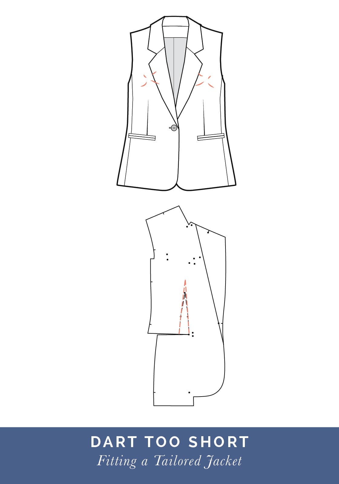 Dart too short // How to fit a Tailored jacket or Blazer // Fit adjustment issues and fixes