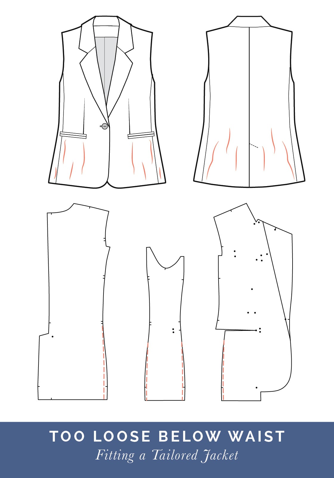 Jacket too loose below waist // How to fit a Tailored jacket or Blazer // Fit adjustment issues and fixes