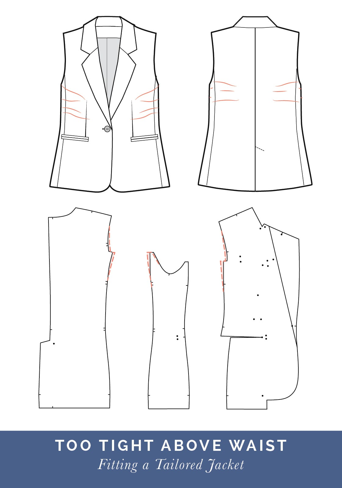 Jacket too tight above waist // How to fit a Tailored jacket or Blazer // Fit adjustment issues and fixes