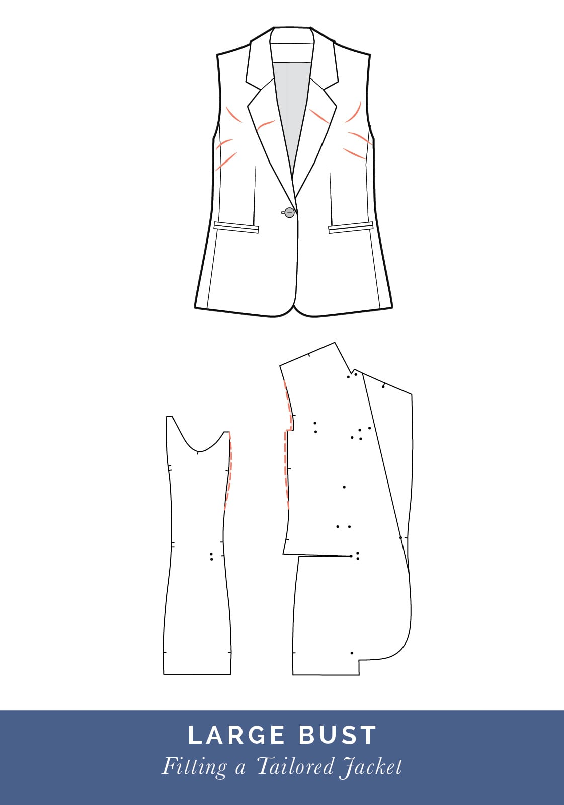 Large bust adjustment // How to fit a Tailored jacket or Blazer // Fit adjustment issues and fixes