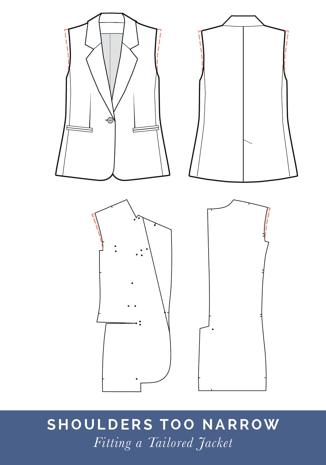 Shoulders too narrow // How to fit a Tailored jacket or Blazer // Fit adjustment issues and fixes
