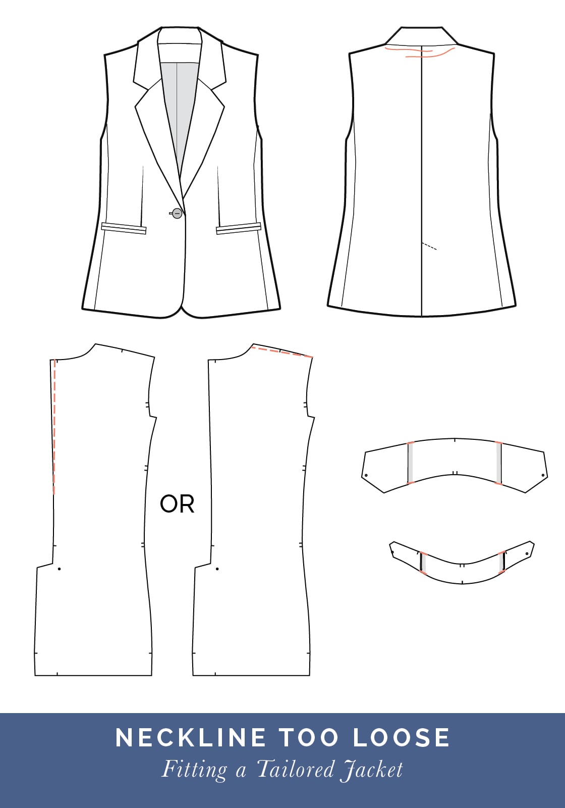 Neckline too loose // How to fit a Tailored jacket or Blazer // Fit adjustment issues and fixes
