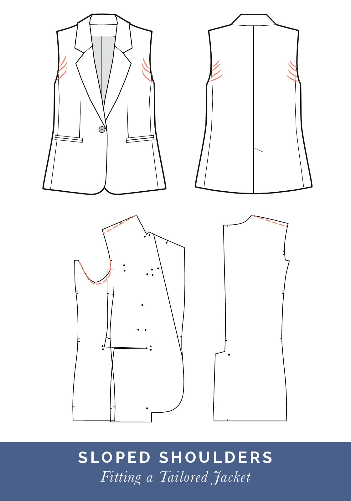Sloped shoulder adjustment // How to fit a Tailored jacket or Blazer // Fit adjustment issues and fixes
