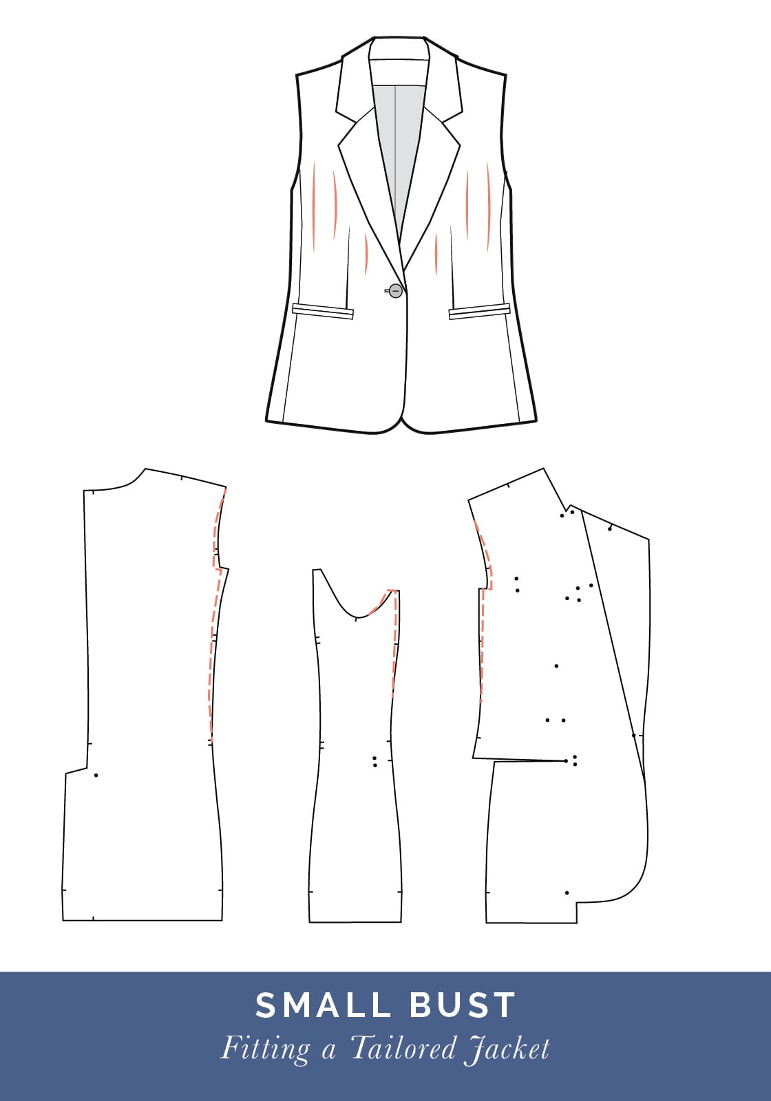 Small bust adjustment // How to fit a Tailored jacket or Blazer // Fit adjustment issues and fixes