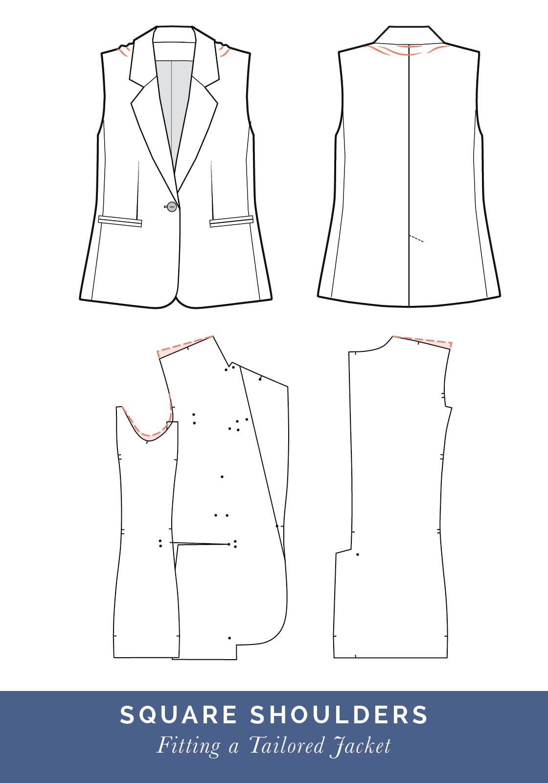 Square shoulder adjustment // How to fit a Tailored jacket or Blazer // Fit adjustment issues and fixes