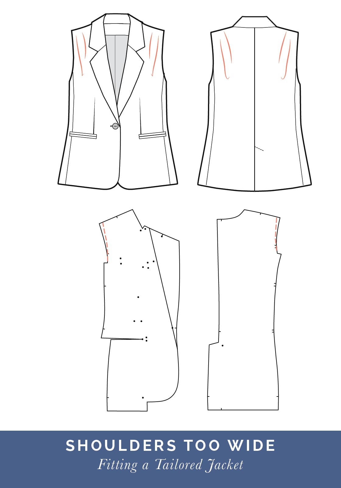Wide shoulder adjustment // How to fit a Tailored jacket or Blazer // Fit adjustment issues and fixes