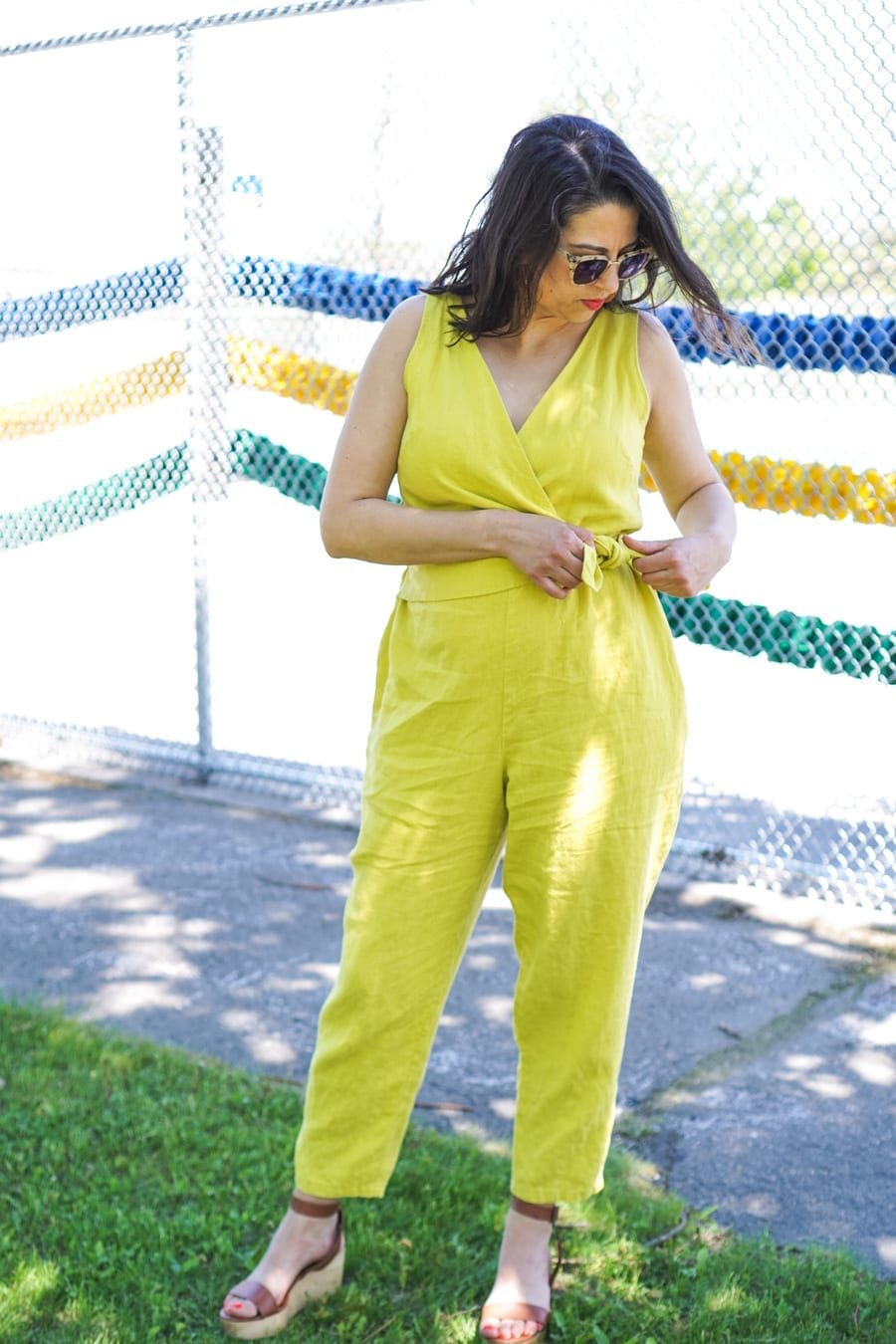 Sierra Jumpsuit in yellow linen by Papercut Patterns // Handmade by Closet Case Patterns