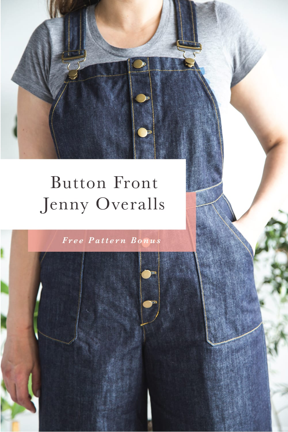 Free Pattern! Button Front Pattern Bonus for the Jenny Overalls // Closet Case Patterns