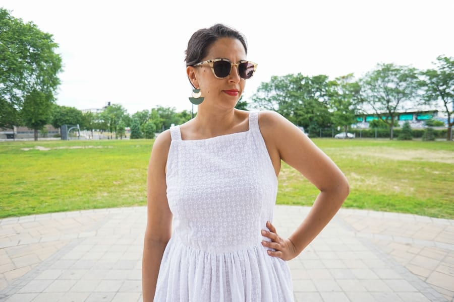 Flora Dress from By Hand London | White cotton eyelet | Handmade by Closet Case Patterns