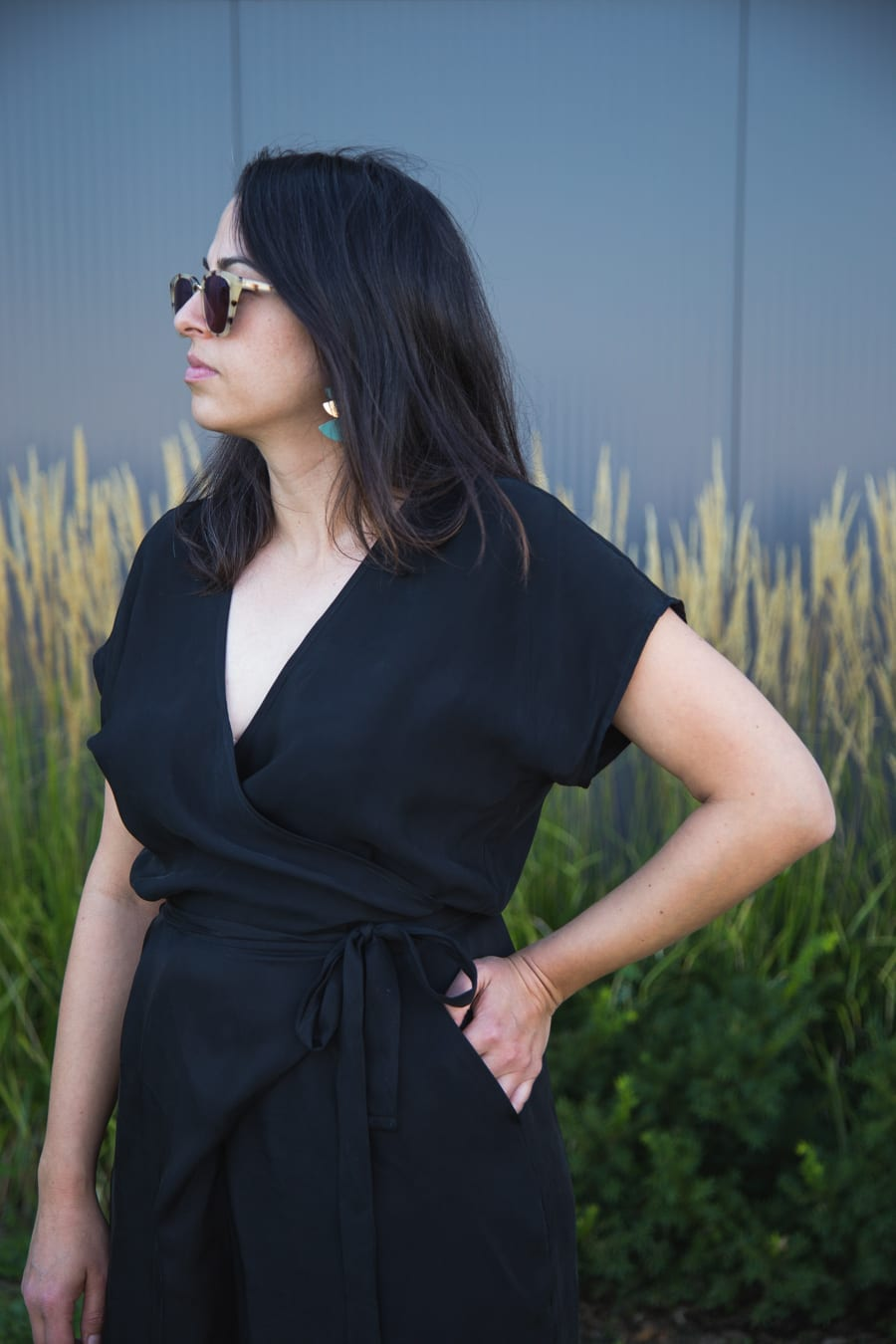 Zadie Jumpsuit by Paper Theory in black cupro // Handmade by Closet Case Patterns