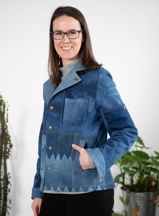 Sienna Maker Jacket made from up-cycled denim, handmade by Alexis // Closet Case Patterns
