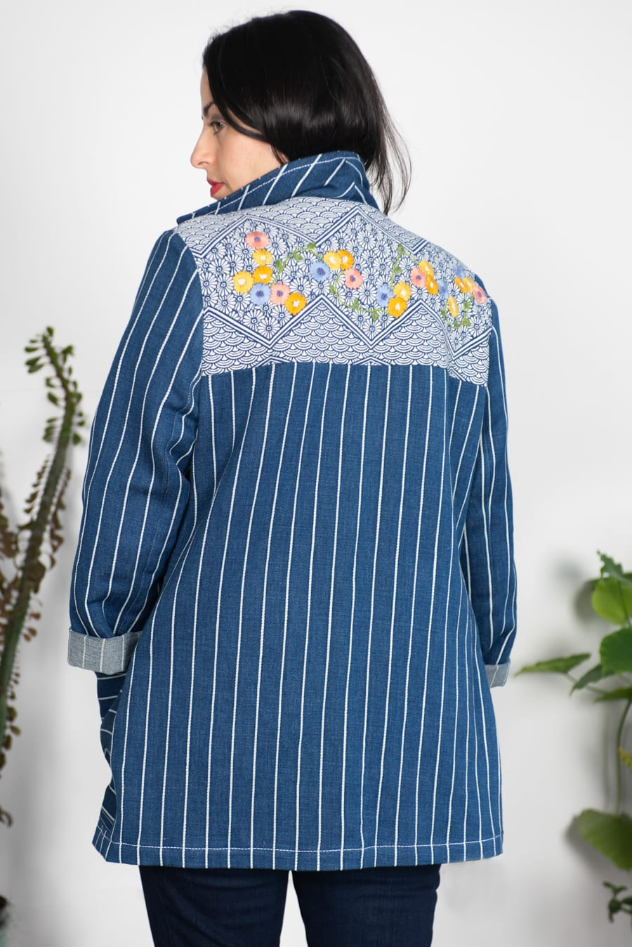 Heather's Sienna Maker Jacket with embroidered yoke // Handmade by Closet Case Patterns