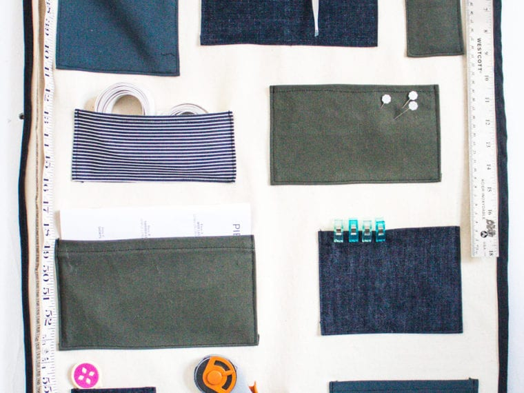 DIY pocket organizer for your wall // Easy Sewing Tutorial using scraps // Closet Case Patterns