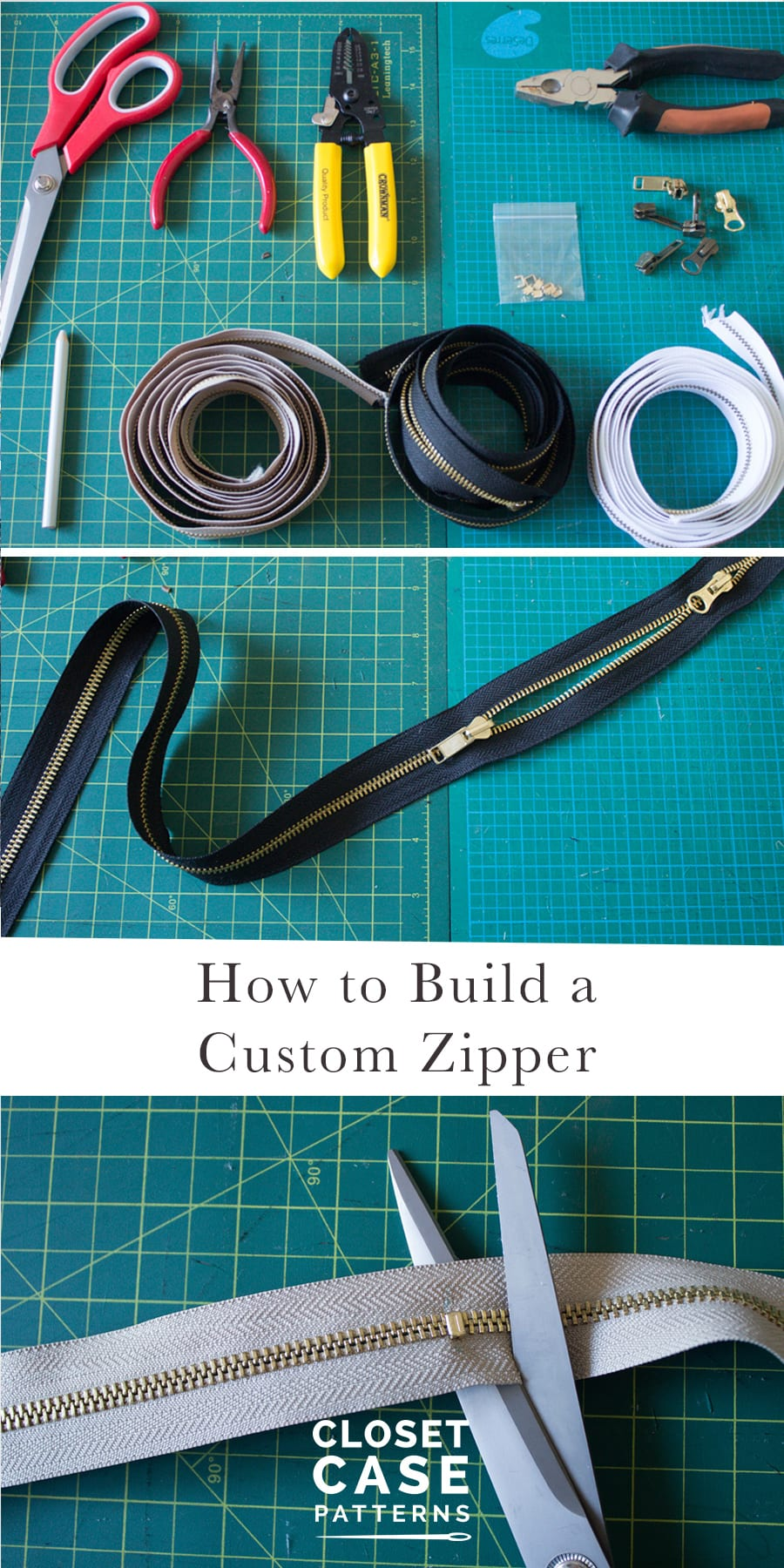How to make a custom zipper! Tutorial for shortening zippers and making custom zippers from parts // Closet Case Patterns